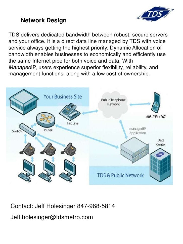 Network Design  TDS delivers dedicated bandwidth between robust, secure servers and your office. It is a direct data line ...