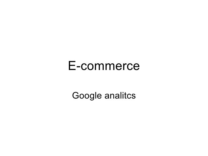 E-commerce Google analitcs