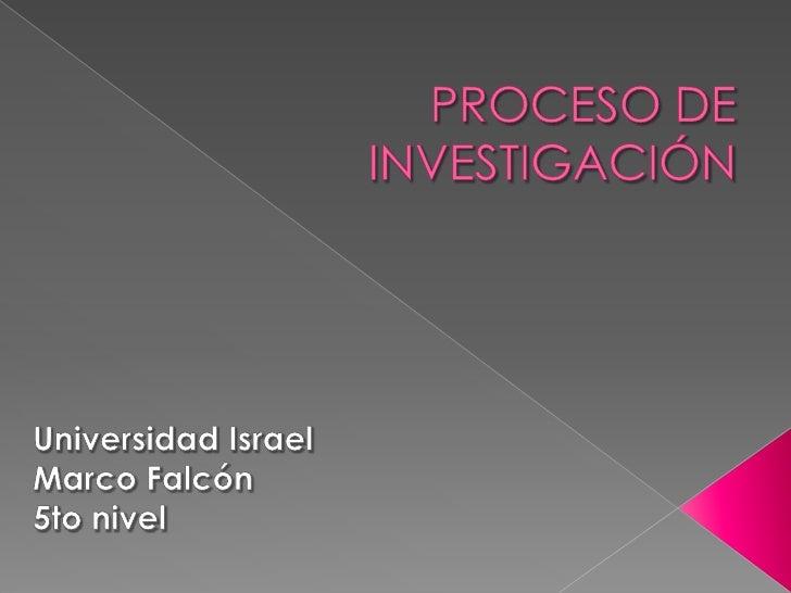 Mapa Conceptual Del Proceso de Investigación