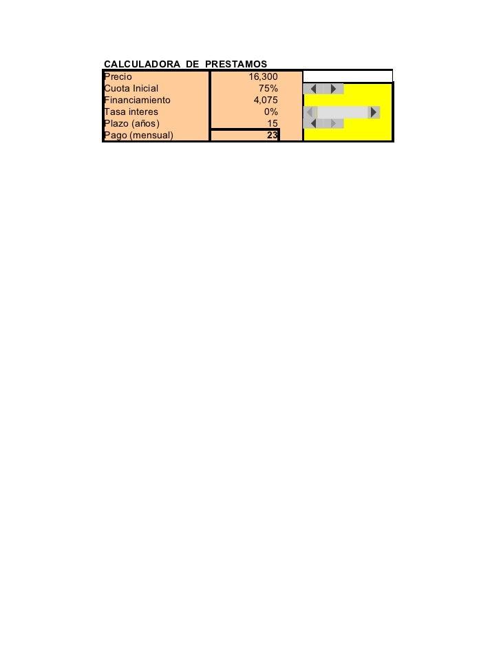 CALCULADORA DE PRESTAMOS Precio               16,300   þÿ16,300 Cuota Inicial          75% Financiamiento        4,075 Tas...