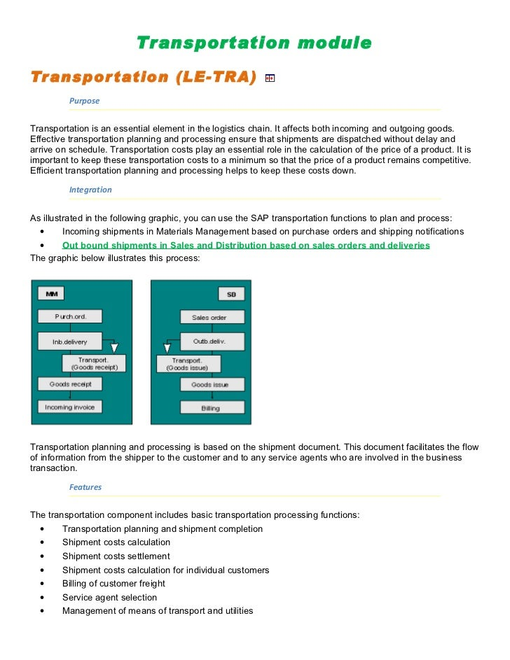 Transportation module  Transpor tation (LE-TRA)           Purpose   Transportation is an essential element in the logistic...