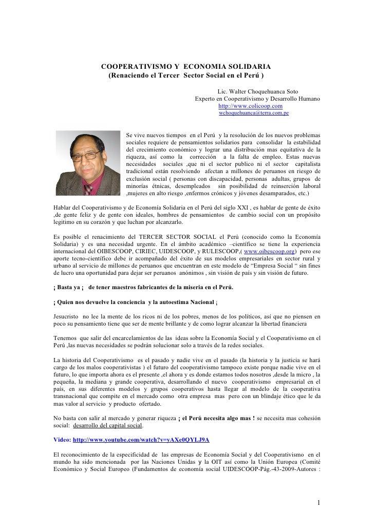 COOPERATIVAS: COOPERATIVISMO Y ECONOMIA SOLIDARIA