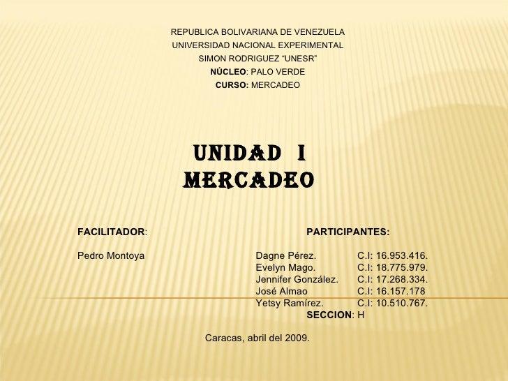 REPUBLICA BOLIVARIANA DE VENEZUELA                 UNIVERSIDAD NACIONAL EXPERIMENTAL                      SIMON RODRIGUEZ ...