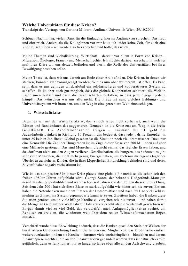 Welche Universitäten für diese Krisen? Transkript des Vortrags von Corinna Milborn, Audimax Universität Wien, 29.10.2009  ...