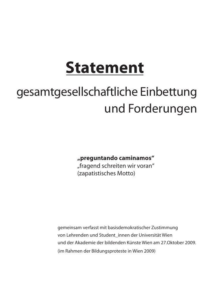 """Statement gesamtgesellschaftliche Einbettung                 und Forderungen                   """"preguntando caminamos""""    ..."""