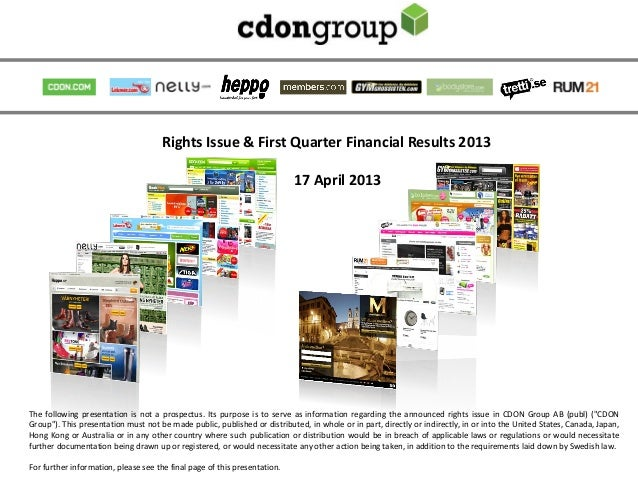 Rights Issue & First Quarter Financial Results 2013                                                                       ...