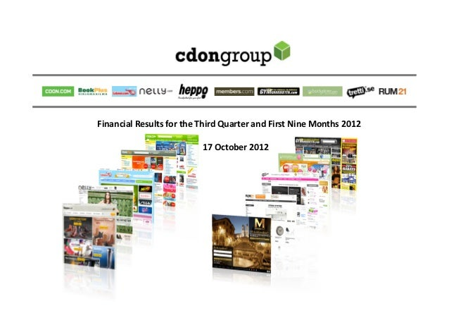 Financial Results for the Third Quarter and First Nine Months 2012                          17 October 2012