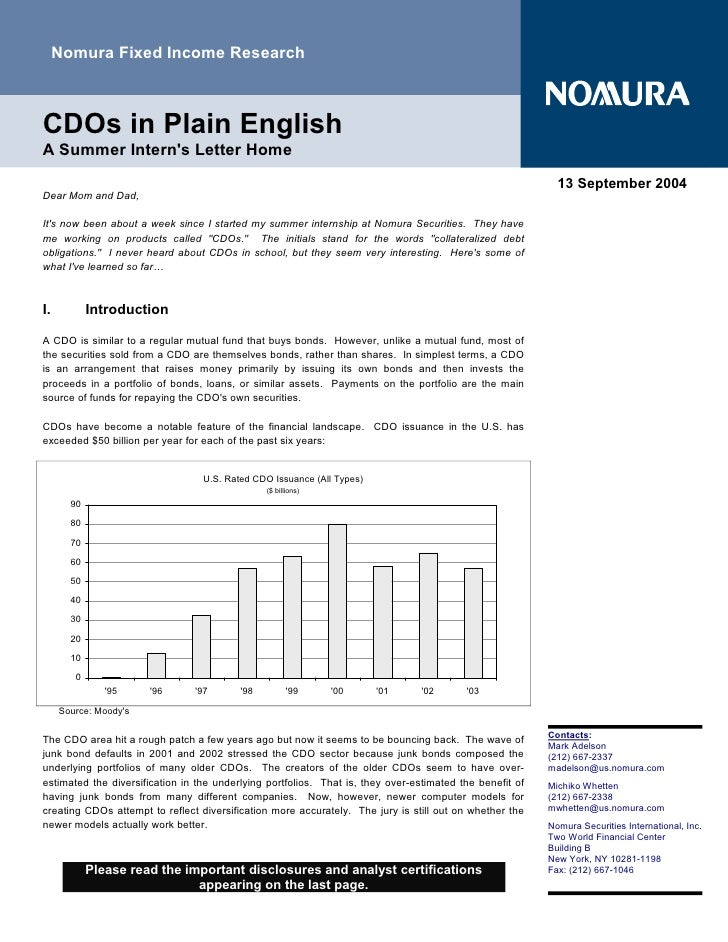 Nomura Fixed Income Research    CDOs in Plain English A Summer Intern's Letter Home                                       ...