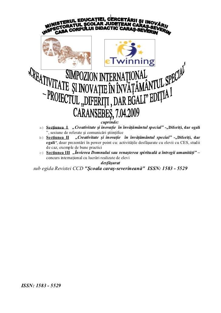 Cd     Realizat Sub Egida Revistei  Ccd şCoala Caraş Severineană  Issn 1583   5529 In Urma Simpozionului International