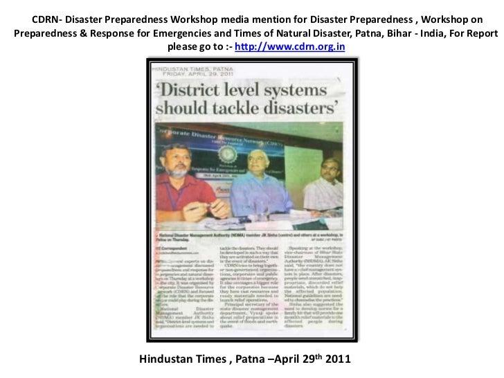 CDRN- DisasterPreparednessWorkshopmedia mention for Disaster Preparedness ,Workshop on Preparedness & Response for Em...
