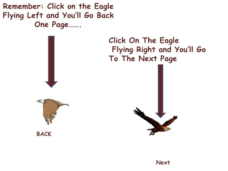 Remember: Click on the Eagle Flying Left and You'll Go Back One Page……. Click On The Eagle Flying Right and You'll Go  To ...