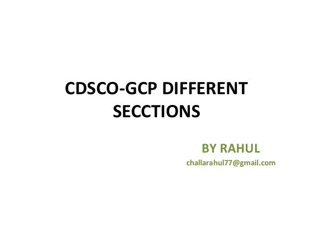 Cdsco gcp different secctions