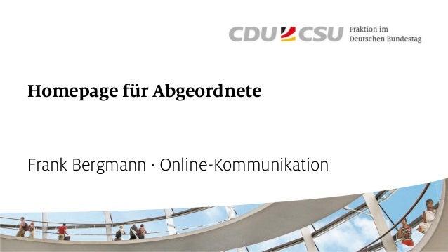 Homepage für Abgeordnete Frank Bergmann · Online-Kommunikation