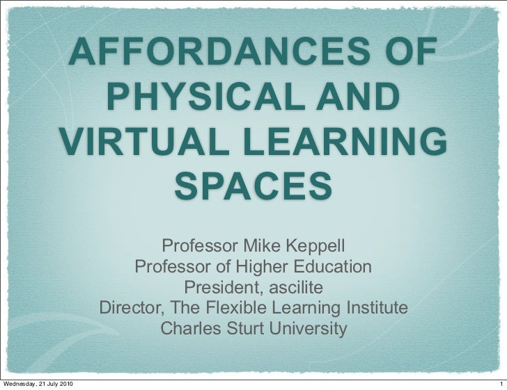 AFFORDANCES OF                     PHYSICAL AND                   VIRTUAL LEARNING                        SPACES          ...