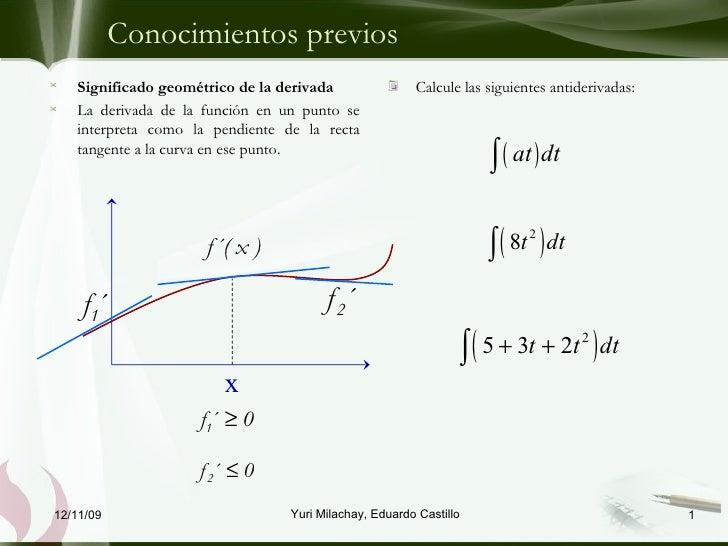 Conocimientos previos <ul><li>Calcule las siguientes antiderivadas: </li></ul>06/09/09 Yuri Milachay, Eduardo Castillo <ul...