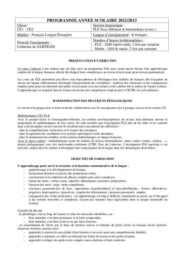 PROGRAMME ANNEE SCOLAIRE 2012/2013 Classe : CE1 - CE2 Matière : Français Langue Étrangère Nom de l'enseignante : Catherine...