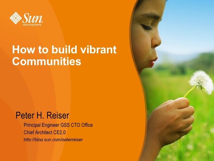 How to build vibrant communities