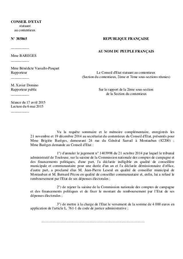 CONSEIL D'ETAT statuant au contentieux N° 385865 __________ Mme BAREGES __________ Mme Bénédicte Vassallo-Pasquet Rapporte...