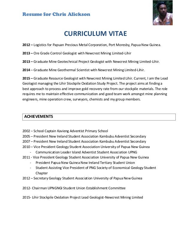 resume examples for geologist