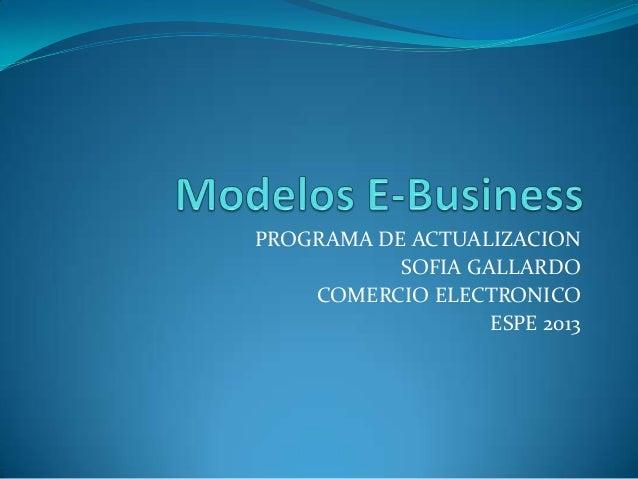 PROGRAMA DE ACTUALIZACION SOFIA GALLARDO COMERCIO ELECTRONICO ESPE 2013