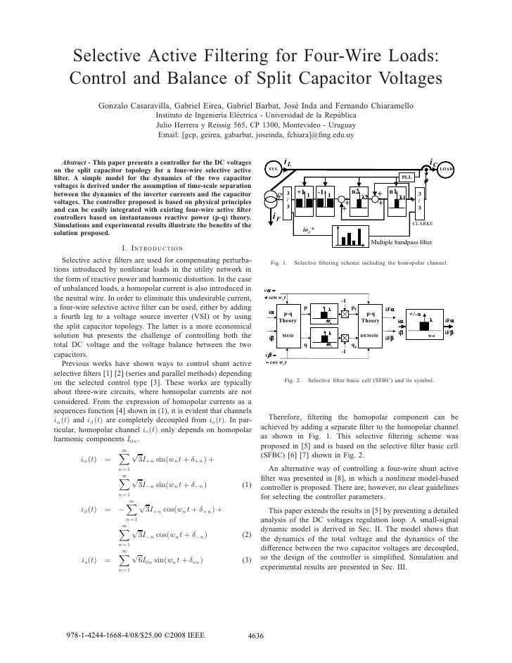 Selective Active Filtering for Four-Wire Loads:      Control and Balance of Split Capacitor Voltages                   Gon...