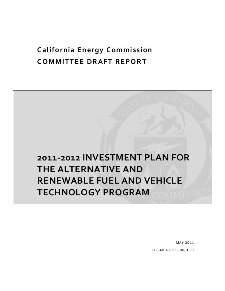 CA Energy Comm 2011-12 inv plan for plug in electric vehicles