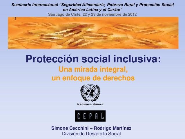 """Simone Cecchini. """"Sistemas de protección social en América Latina y el Caribe"""""""