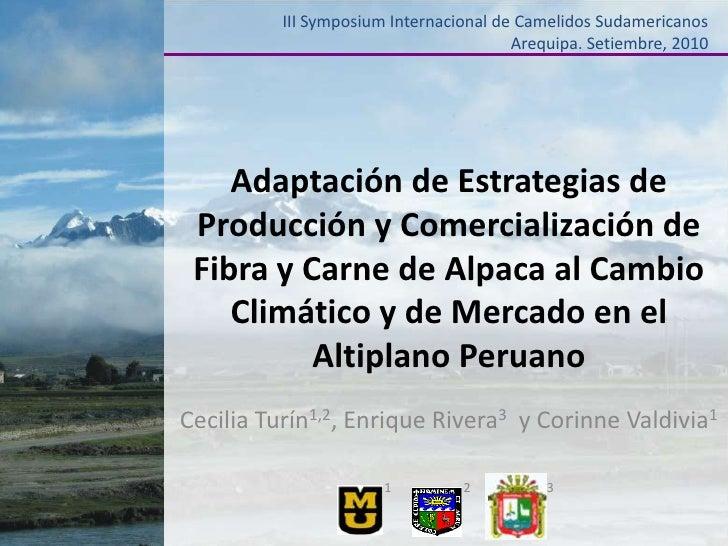 III Symposium Internacional de Camelidos SudamericanosArequipa. Setiembre, 2010<br />Adaptación de Estrategias de Producci...