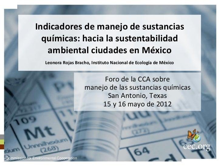 Leonora Rojas Bracho: Indicadores de manejo de sustancias químicas: hacia la sustentabilidad ambiental ciudades en México