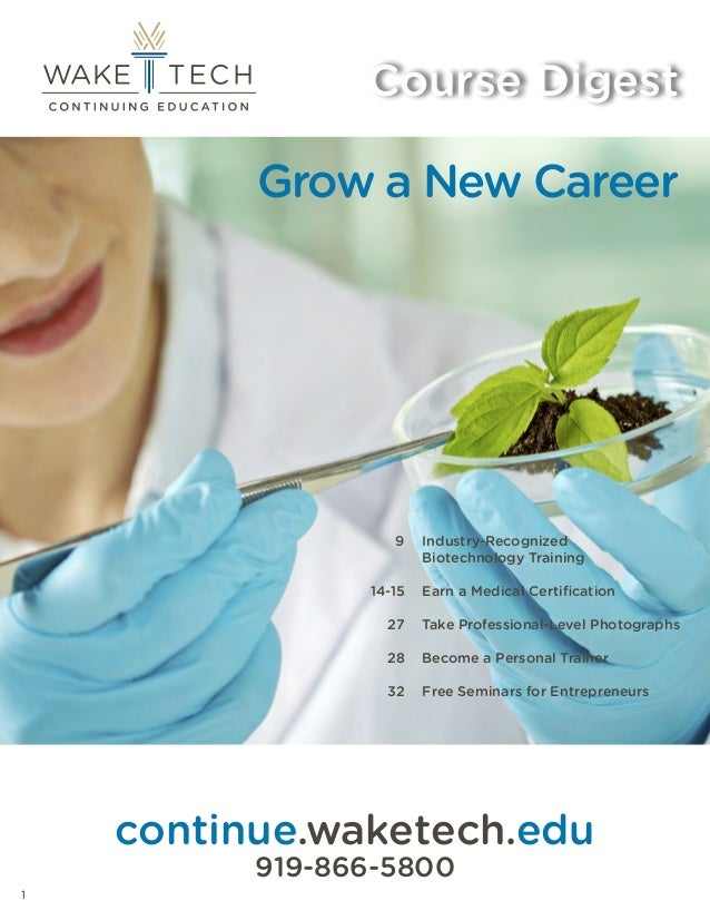Wake Tech Continuing Education Course Digest Brochure