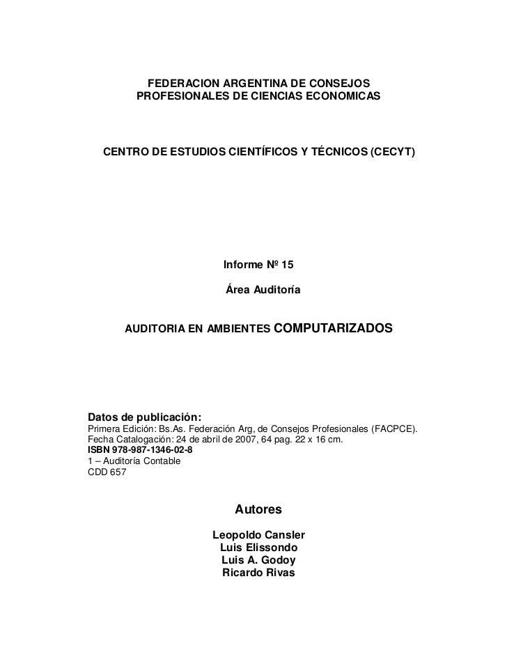 FEDERACION ARGENTINA DE CONSEJOS           PROFESIONALES DE CIENCIAS ECONOMICAS   CENTRO DE ESTUDIOS CIENTÍFICOS Y TÉCNICO...