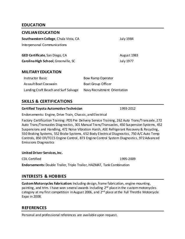 Navy resume examples