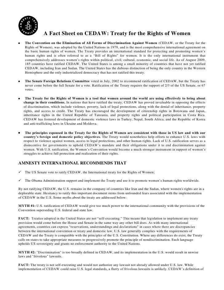 A Fact Sheet on CEDAW: Treaty for the Rights of Women    The Convention on the Elimination of All Forms of Discrimination ...