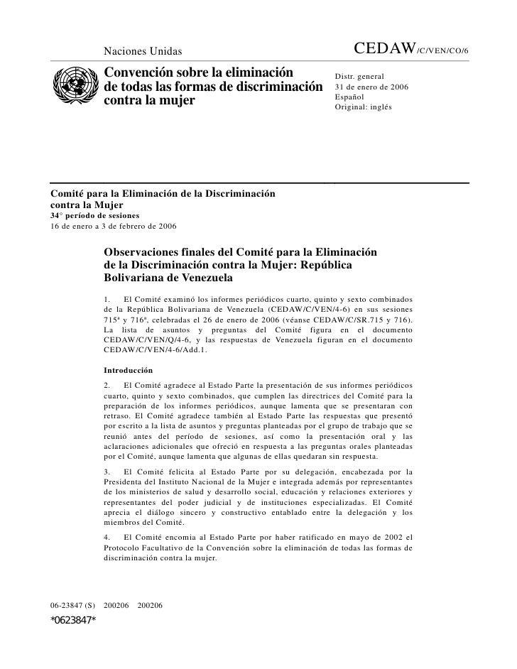 OBSERVACIONES CEDAW-VENEZUELA