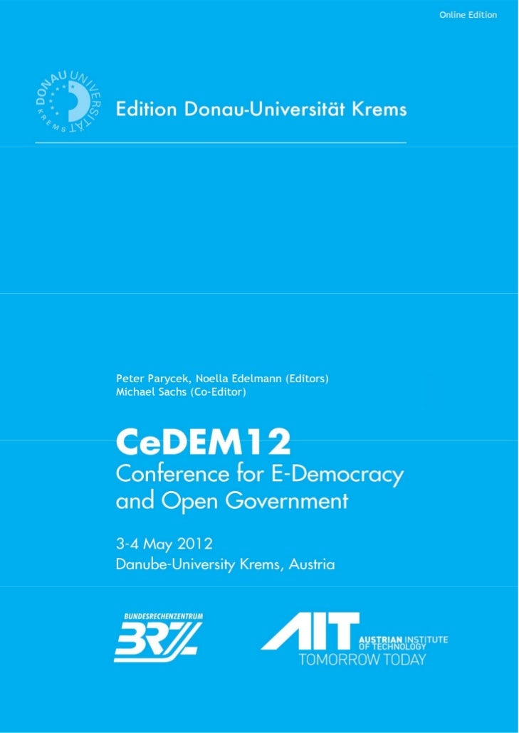 CeDEM12: Proceedings of the International Conference for E-Democracy and Open Government