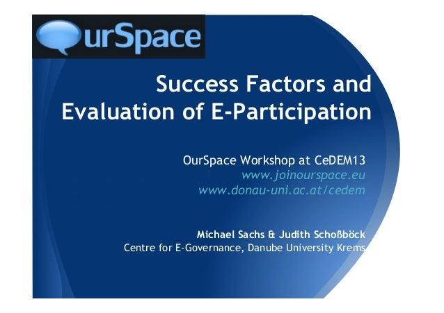 Success Factors andEvaluation of E-ParticipationOurSpace Workshop at CeDEM13www.joinourspace.euwww.donau-uni.ac.at/cedemMi...