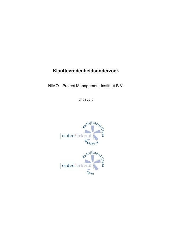 Cedeo Rapport: NIMO Project Management Instituut b v