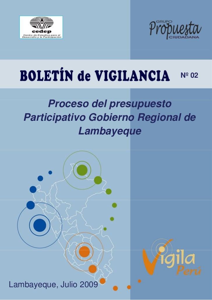 Boletin N° 2 - Julio 2009 Presupuesto Participativo Gobierno Regional de Lambayeque