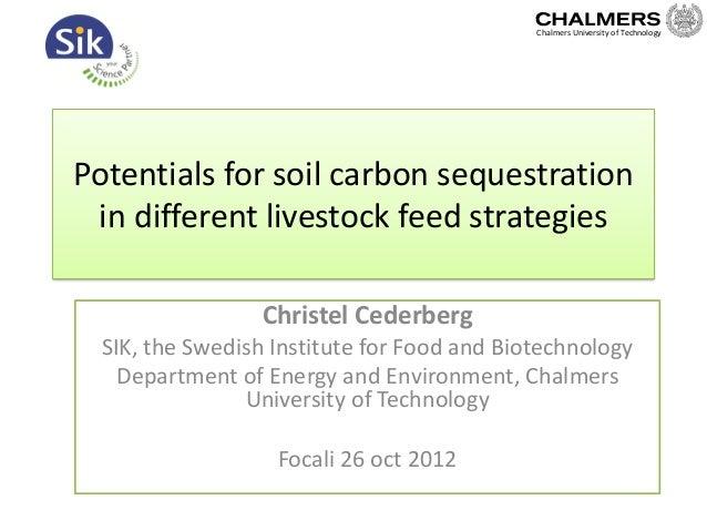 Potentials for soil carbon sequestrationin different livestock feed strategiesChristel CederbergSIK, the Swedish Institute...
