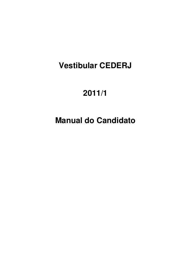 Vestibular CEDERJ      2011/1Manual do Candidato