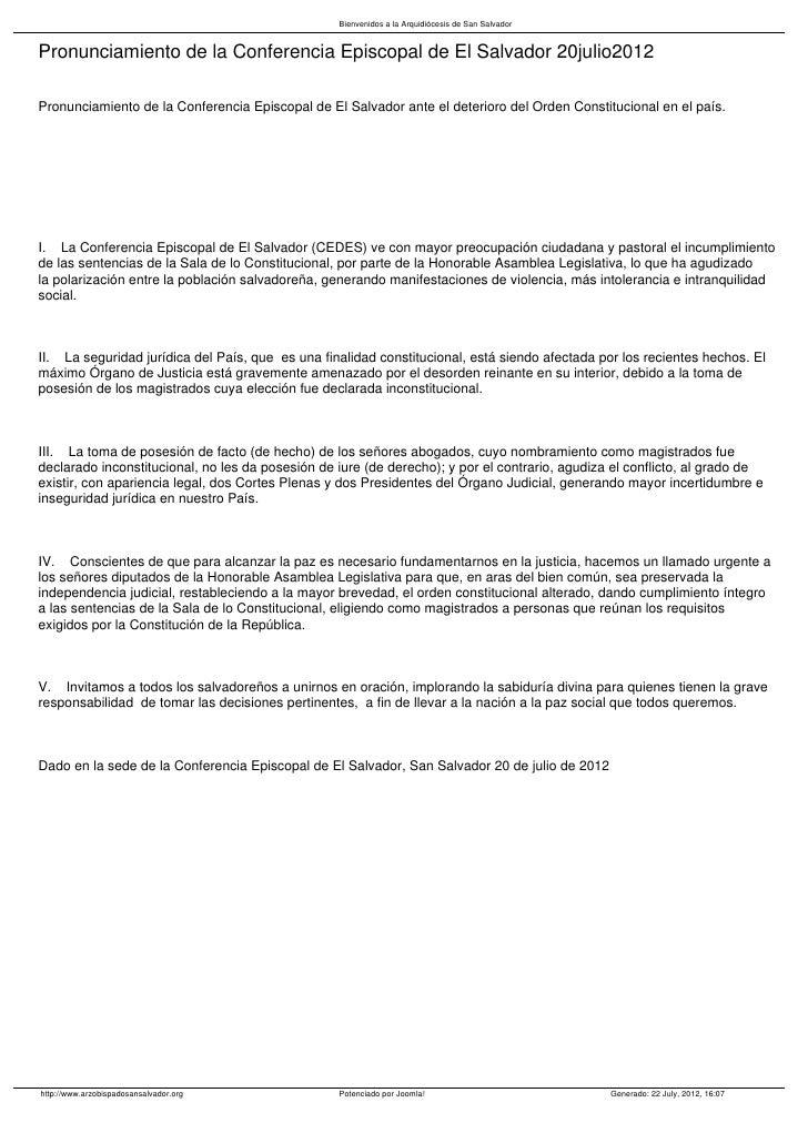 Bienvenidos a la Arquidiócesis de San SalvadorPronunciamiento de la Conferencia Episcopal de El Salvador 20julio2012Pronun...