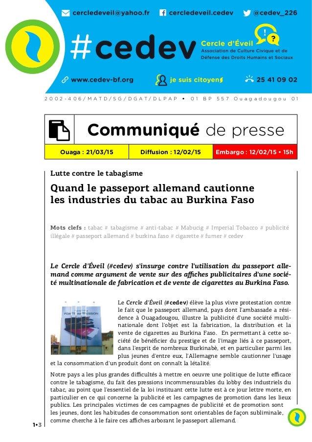 Lutte contre le tabagisme Quand le passeport allemand cautionne les industries du tabac au Burkina Faso Mots clefs : tabac...