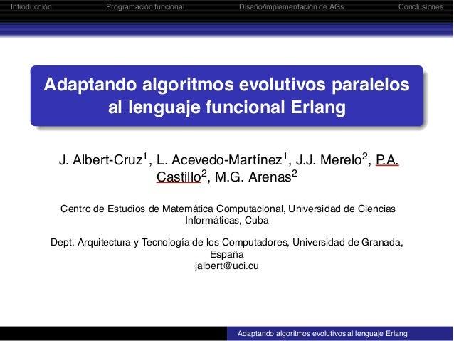 Adaptando algoritmos evolutivos paralelos al lenguaje funcional Erlang