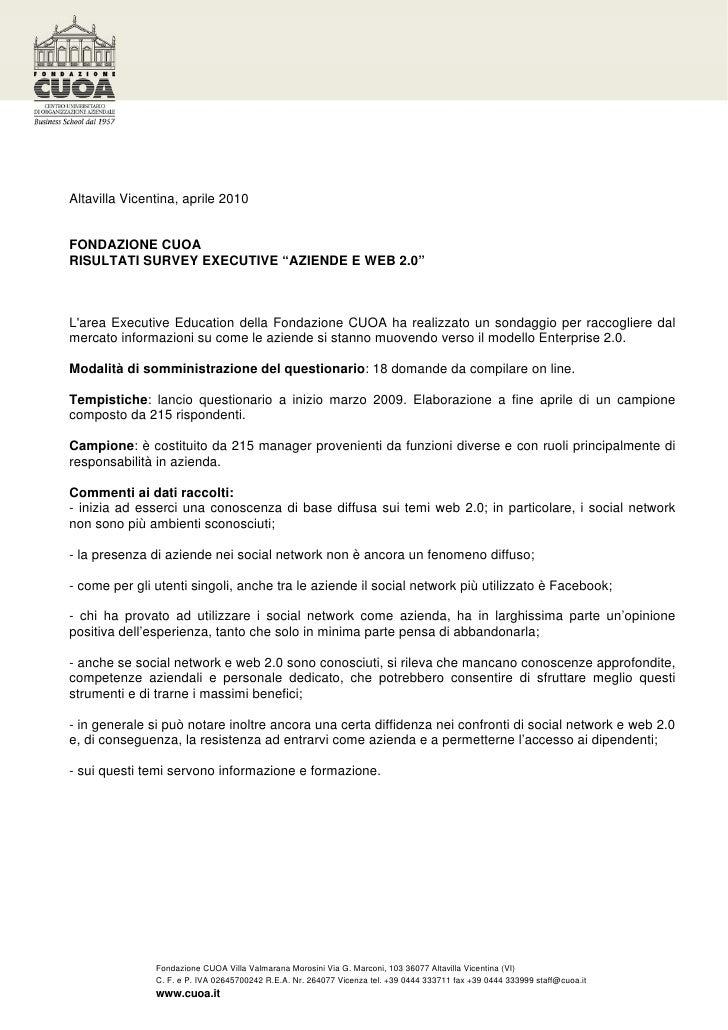 """Risultati commentati dell'indagine """"Aziende e Web 2.0"""" di Fondazione CUOA"""