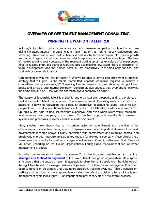 CEE 2014 Talent Management Consulting Services  2 April 2014