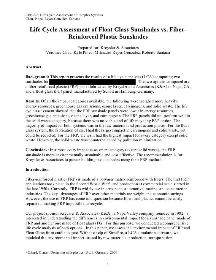 Kreysler & Associates LCA for RFP Sunshades