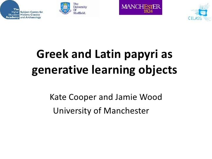 Greek and Latin papyri as generative learning objects