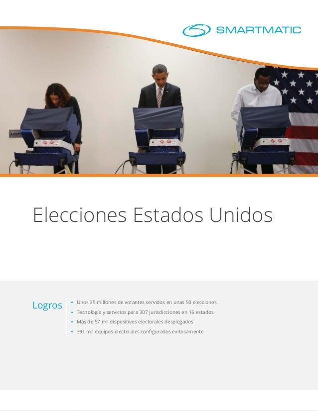 Elecciones Estados Unidos Unos 35 millones de votantes servidos en unas 50 elecciones Tecnología y servicios para 307 juri...