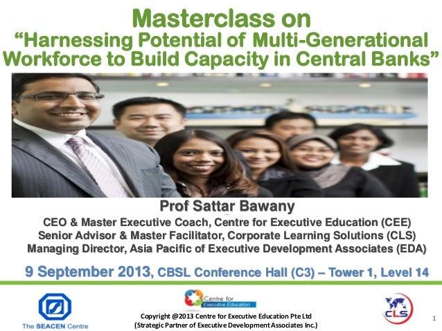 Copyright @2013 Centre for Executive Education Pte Ltd (Strategic Partner of Executive Development Associates Inc.) 1 Prof...