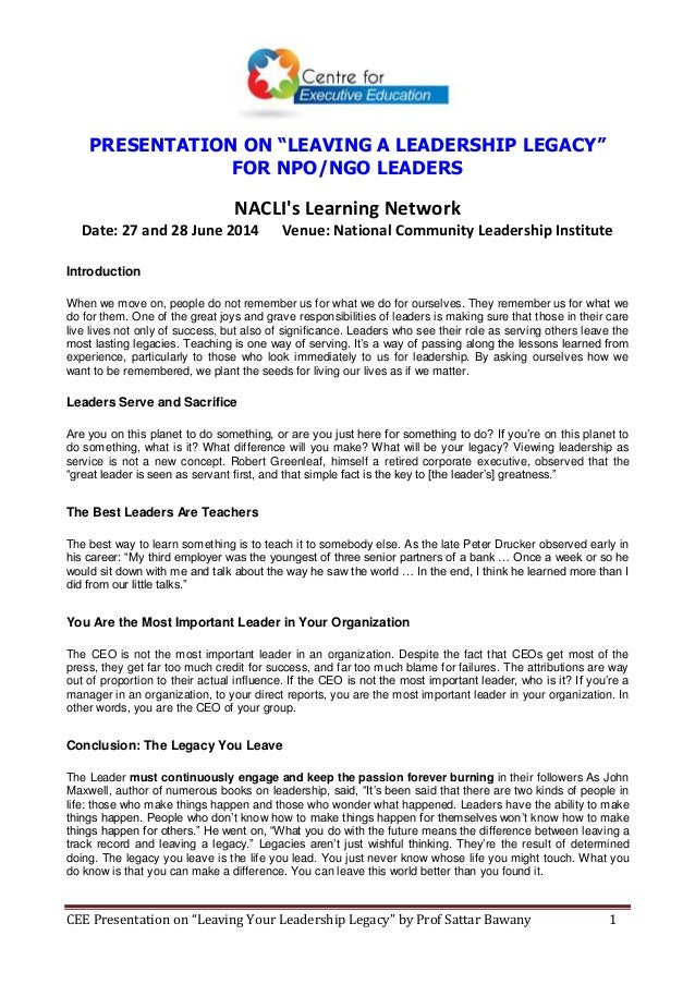 Leaving a Leadership Legacy for NACLI's Learning Network 27-28 June 2014